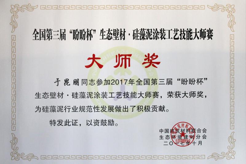 全国第三届生态壁材·硅藻泥涂装工艺技能大师赛大师奖