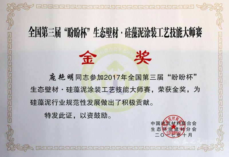 全国第三届生态壁材·硅藻泥涂装工艺技能大师赛金奖